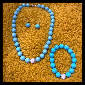 AQUA BLUE NECKLACE MATCHING BRACELET & EARRINGS